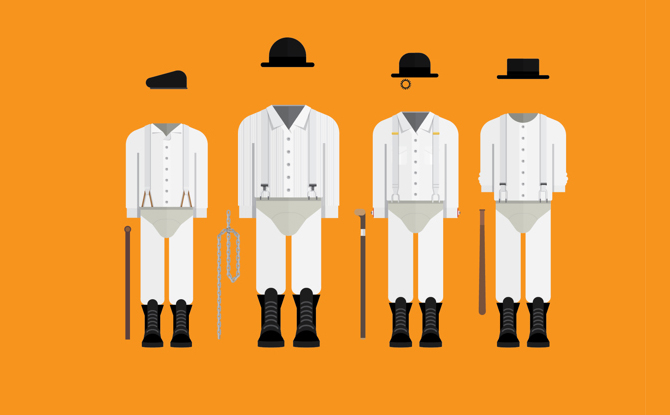Minimalistic illustration of some famous movie costumes